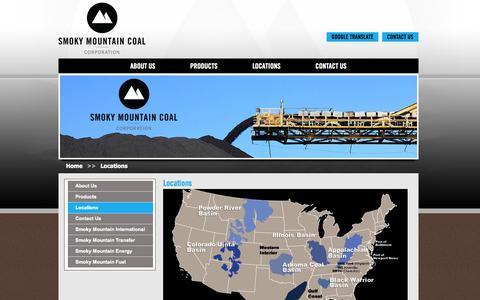 Screenshot of Locations Page smokymountaincoal.com - Smoky Mountain Coal - captured Oct. 26, 2014