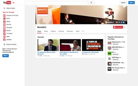 Screenshot of YouTube Page youtube.com - Novethic  - YouTube - captured Oct. 29, 2014