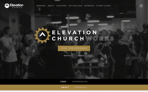 Screenshot of Jobs Page elevationchurch.org - Job Opportunities - Elevation Church - captured Sept. 12, 2018