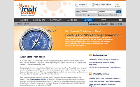 Screenshot of About Page startfreshtoday.com - About Us | Start Fresh Today Bankruptcy Solutions - captured Sept. 24, 2014
