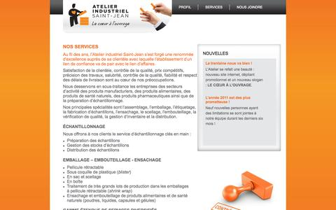 Screenshot of Services Page atelierindustriel.ca - Atelier Industriel - captured Oct. 4, 2014