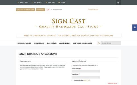 Screenshot of Login Page signcast.co.uk - Customer Login  - Signcast - captured Dec. 21, 2015