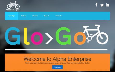 Screenshot of Home Page alphaenterprise.co.uk - Alpha Enterprise - Creators of GloGos - captured Sept. 30, 2014