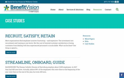 Screenshot of Case Studies Page benefitvision.com - Case Studies - BenefitVision - captured Oct. 5, 2018