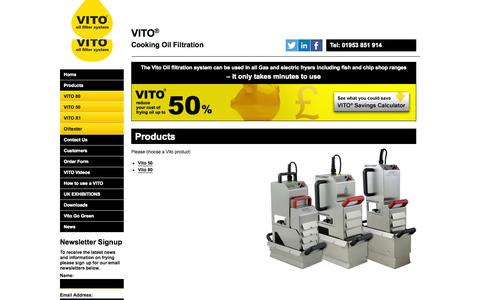 Screenshot of Products Page vitouk.co.uk - VITO range of frying oil filter machines. - captured Oct. 26, 2014