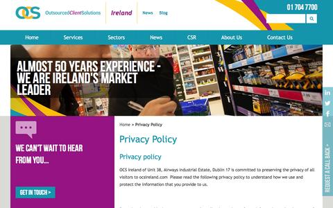 Screenshot of Privacy Page ocsireland.ie - Privacy Policy   OCS Ireland   OCS Ireland - captured Nov. 28, 2016
