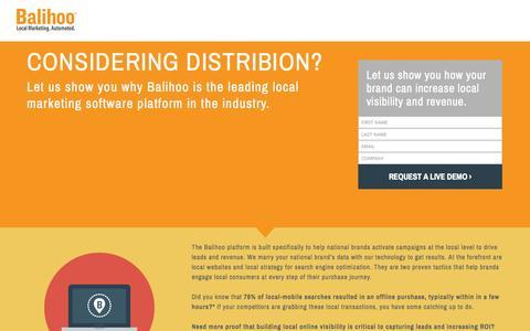 Screenshot of Landing Page balihoo.com - Considering Distribion? - captured Oct. 27, 2014