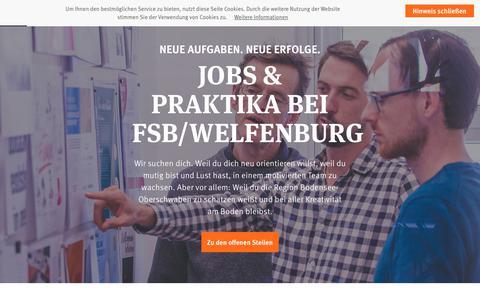 Screenshot of Jobs Page fsb-welfenburg.de - Jobs & Praktikum in Marketing, Werbung und Design bei fsb/welfenburg in Ravensburg - captured Nov. 14, 2018