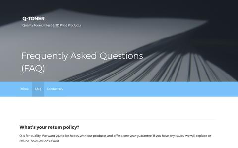 Screenshot of FAQ Page qtoner.com - Frequently Asked Questions (FAQ) – Q-Toner - captured July 29, 2017