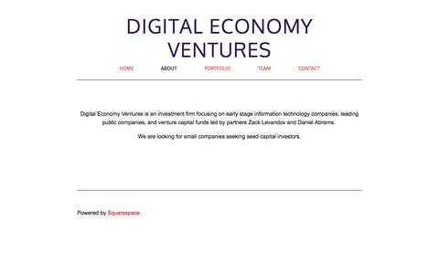Screenshot of About Page digitaleconomy.ventures - About — Digital Economy Ventures - captured Oct. 5, 2014
