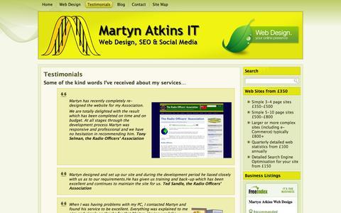 Screenshot of Testimonials Page martynatkins.co.uk - Martyn Atkins Web Design | Testimonials, Recommendations & Feedback - captured Oct. 27, 2014