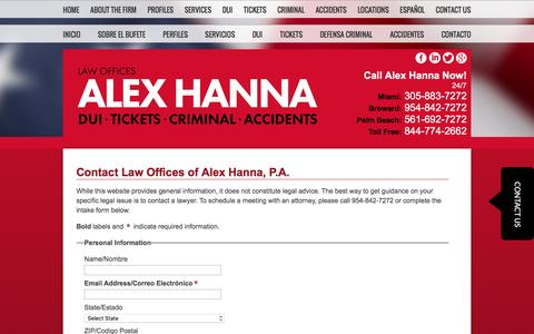 Screenshot of Contact Page Locations Page alexhanna.com - Contact | Law Offices of Alex Hanna, P.A. | Florida - captured Jan. 26, 2016
