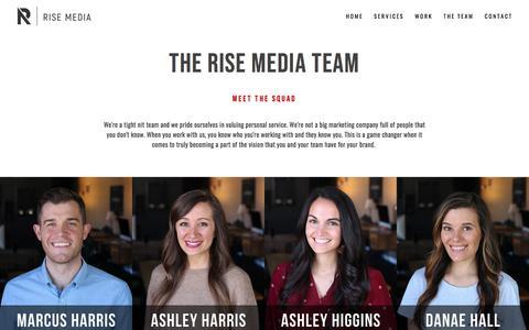 Screenshot of Team Page risefilmmedia.com - The Team | Rise Media | Marketing Agency - captured Sept. 21, 2018