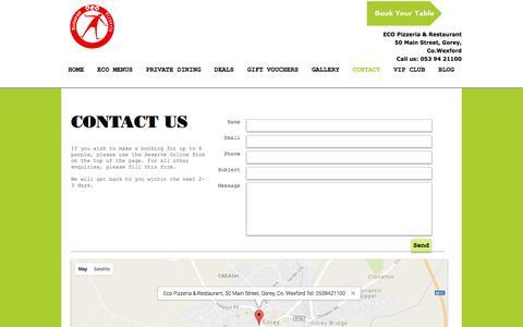 Screenshot of Contact Page ecogorey.com - Eco Pizzeria & Restaurant Gorey | CONTACT - captured Oct. 21, 2016