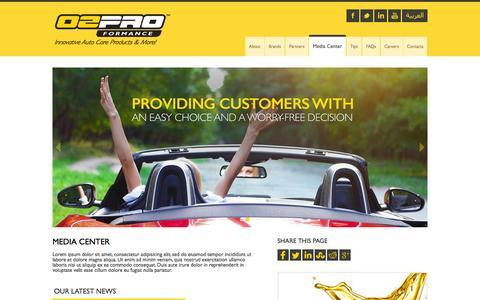 Screenshot of Press Page o2proformance.com - Media Center   O2ProFormance - captured Oct. 29, 2014