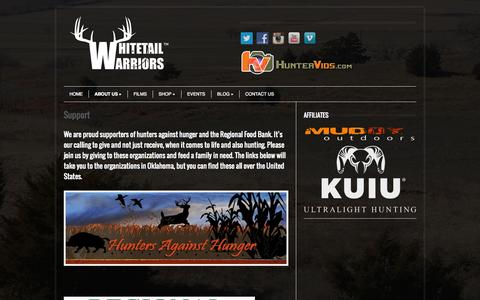 Screenshot of Support Page whitetailwarriors.tv - Support | - captured Oct. 26, 2014