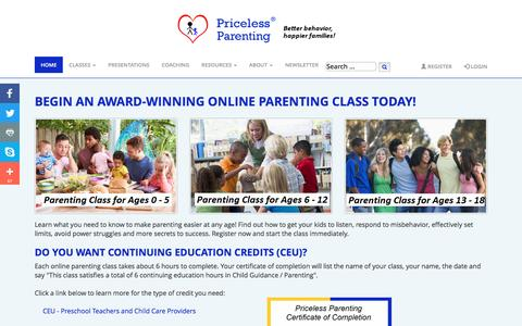 Screenshot of Home Page pricelessparenting.com - Parenting Classes, Presentations and Coaching - Raising Awesome Kids! - Priceless Parenting - captured May 21, 2017