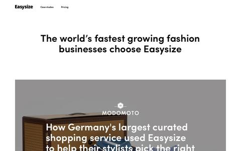 Screenshot of Case Studies Page easysize.me - Customers | Easysize - captured April 15, 2019