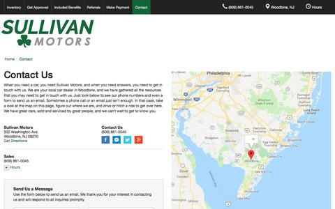 Screenshot of About Page Contact Page Hours Page sullivanmotorsnj.com - Contact Sullivan Motors in Woodbine New Jersey - captured July 2, 2018