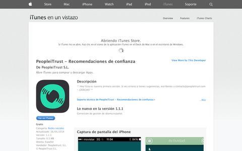 Screenshot of iOS App Page apple.com - PeopleiTrust - Recomendaciones de confianza para iPhone, iPod touch y iPad en el App Store de iTunes - captured Oct. 22, 2014