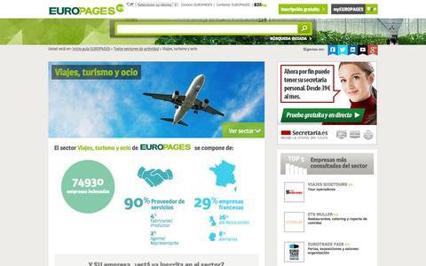 Screenshot of europages.es - Viajes, turismo y ocio , todos los proveedores para España y Europa de EUROPAGES - captured Sept. 12, 2015