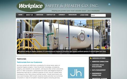 Screenshot of Testimonials Page workplace-safety.net - Testimonials - Workplace Safety & Health Company - captured Oct. 7, 2014
