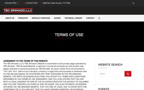 Screenshot of Terms Page tbc-brinadd.com - Terms of Use | TBC-Brinadd, LLC - captured Oct. 20, 2018