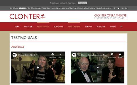 Screenshot of Testimonials Page clonter.org - TESTIMONIALS - Clonter - captured Oct. 25, 2018