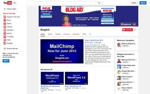 Screenshot of YouTube Page youtube.com - BlogAid  - YouTube - captured Oct. 23, 2014