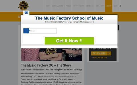 Screenshot of About Page themusicfactoryoc.com - Music Schools, Private Lessons, Risk Free, Orange COThe Music Factory OC - captured Feb. 15, 2016