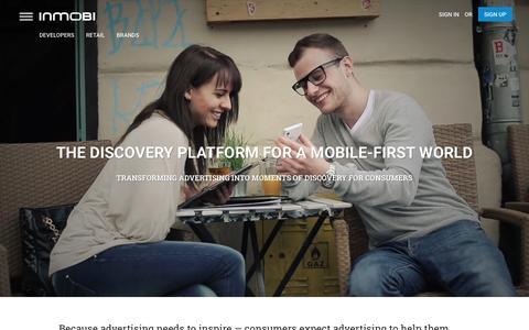 Screenshot of Home Page inmobi.com - InMobi | Mobile Discovery Commerce | Monetization | Advertising - captured Jan. 11, 2016