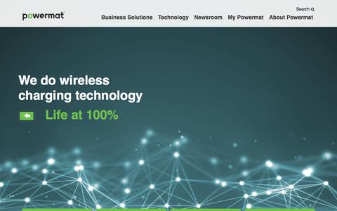 Screenshot of Home Page About Page powermat.com - Wireless Charging Technology and Solutions | Powermat • Life at 100% - captured Jan. 6, 2018