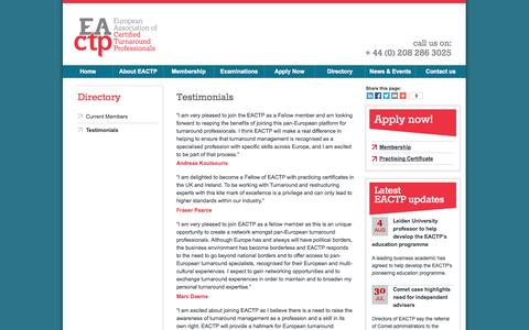 Screenshot of Testimonials Page eactp.eu - Admission & Requirements - Membership - European Association of Turnaround Professionals - captured Sept. 26, 2014