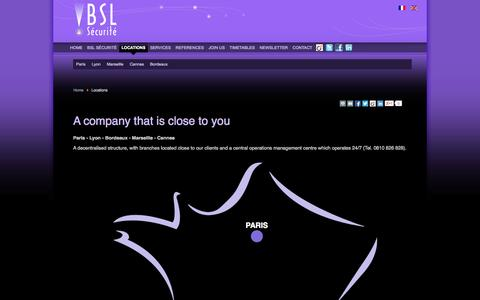 Screenshot of Locations Page bslsecurite.fr - A company that is close to you - captured Oct. 4, 2014