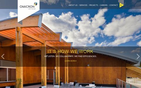 Screenshot of Home Page omicronaec.com - Omicron - A Better Way to Develop, Design and Build - captured Feb. 25, 2016