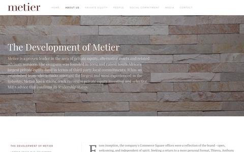Screenshot of About Page metier.co.za - The Development of Metier - captured June 10, 2017