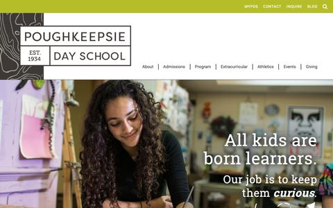 Screenshot of Home Page poughkeepsieday.org - Poughkeepsie Day School - captured Sept. 29, 2018