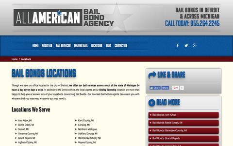 Screenshot of Locations Page freebailnow.com - Locations | All American Bail Bond Agency - captured Nov. 20, 2016