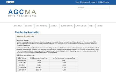 Screenshot of Signup Page agcmass.org - Membership Application (step 1) - AGCMA - Associated General Contractors of Mass, MA - captured Nov. 19, 2016
