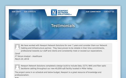 Screenshot of Testimonials Page newportnetworksolutions.com - Testimonials - Newport Network Solutions - captured June 13, 2017