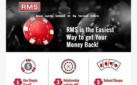 Screenshot of Home Page refundmanagement.com - US Tax Refund | Casino Tax Refund | Refund Management Services - captured Aug. 14, 2015