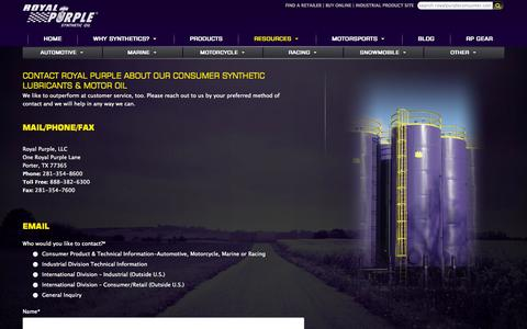 Screenshot of Contact Page royalpurpleconsumer.com - Synthetic Lubricants & Motor Oil | Contact Royal Purple - captured Sept. 19, 2014