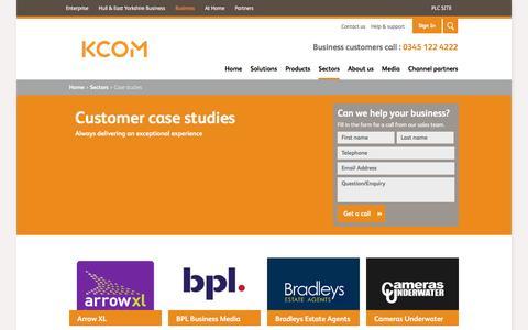Screenshot of Case Studies Page kcom.com - KCOM - Case studies - captured Sept. 4, 2016