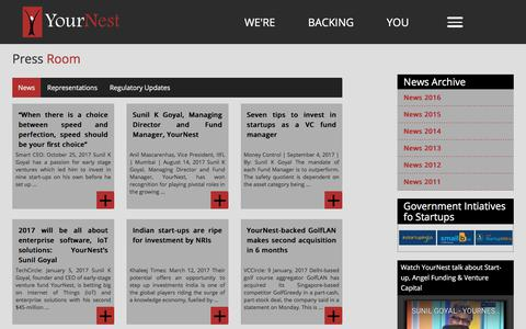 Screenshot of Press Page yournest.in - YourNest's' Latest Opinion & News on Angel Investing, YourNest's' Latest Opinion & News on Angel Investing - captured Oct. 27, 2017