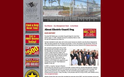 Screenshot of About Page electricguarddog.com - About Us | Electric Guard Dog - captured Sept. 29, 2014