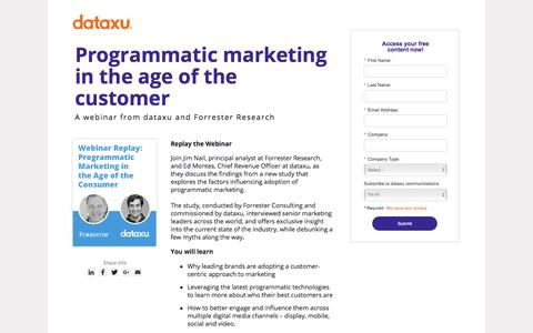 Screenshot of Landing Page dataxu.com - On demand webinar: Programmatic Marketing Age of Customer - captured March 25, 2018