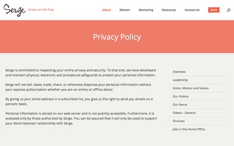 Screenshot of Privacy Page serge.org - Privacy Policy - Serge :: Grace at the Fray - captured Sept. 20, 2018
