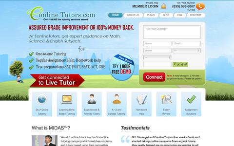 Screenshot of Home Page eonlinetutors.com - Online Tutors   Online Tutoring   Free Online Tutoring   Unlimited Online Tutoring - Eonlinetutors.com - captured Sept. 19, 2014