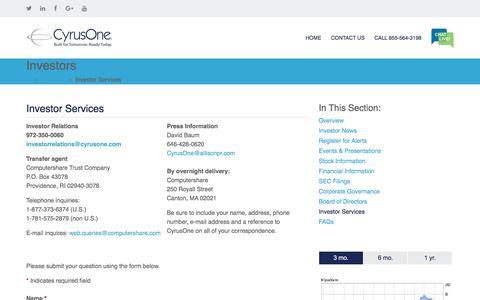 Screenshot of Services Page cyrusone.com - Investor Services | CyrusOne - captured Nov. 27, 2019