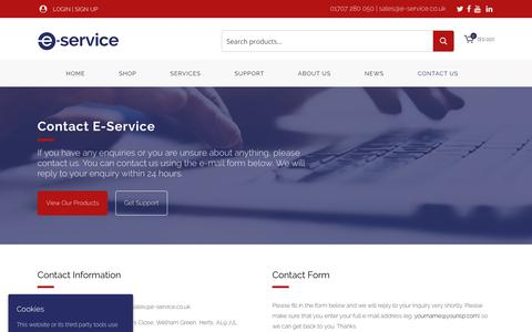 Screenshot of Contact Page e-service.co.uk - Contact Us - E-Service - captured Sept. 25, 2018